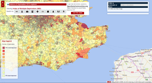 Deprivation Index ratings in southern England