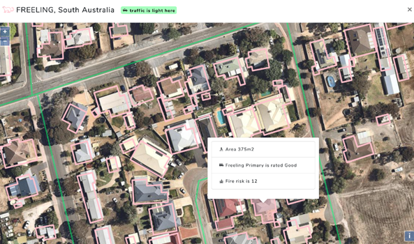Aerial map view with polygons over property and property data associated with each