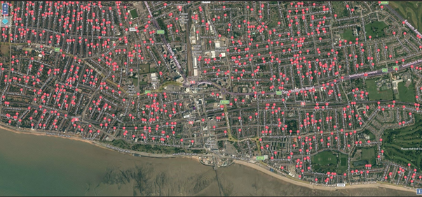 Aerial map view with location pins